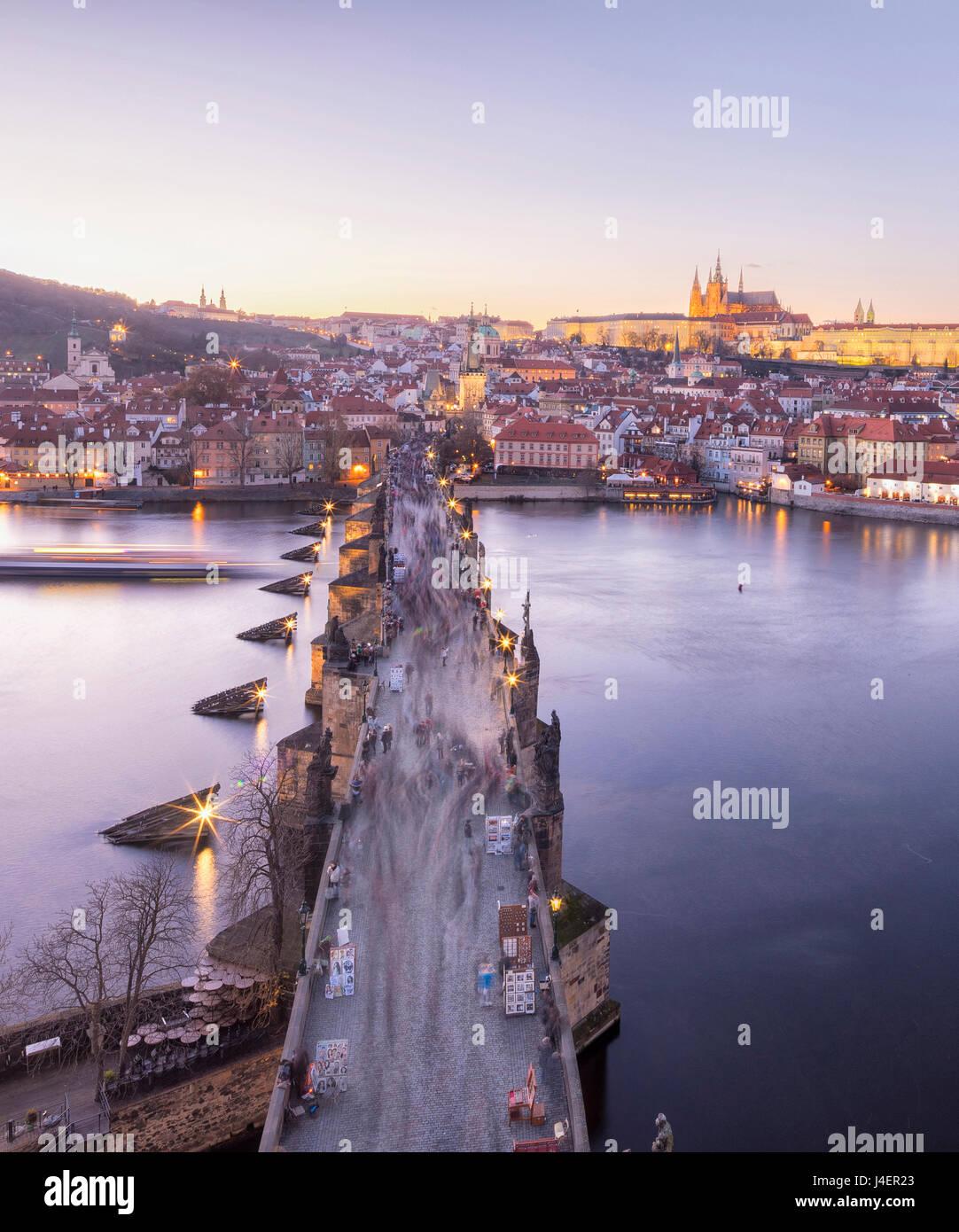 Vltava River and by Charles Bridge at sunset, UNESCO World Heritage Site, Prague, Czech Republic, Europe - Stock Image