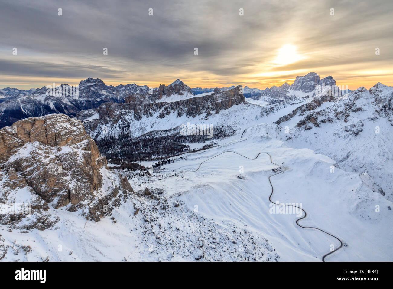 Aerial view of the snowy peaks of Giau Pass Ra Gusela and Lastoi De Formin, Cortina d'Ampezzo, Dolomites, Veneto, - Stock Image