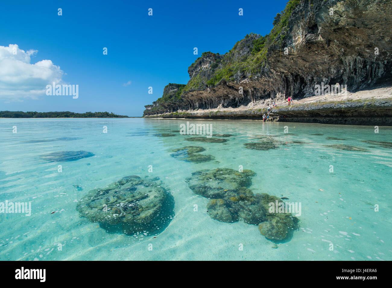 The grey Lekiny cliffs, Ouvea, Loyalty Islands, New Caledonia, Pacific - Stock Image