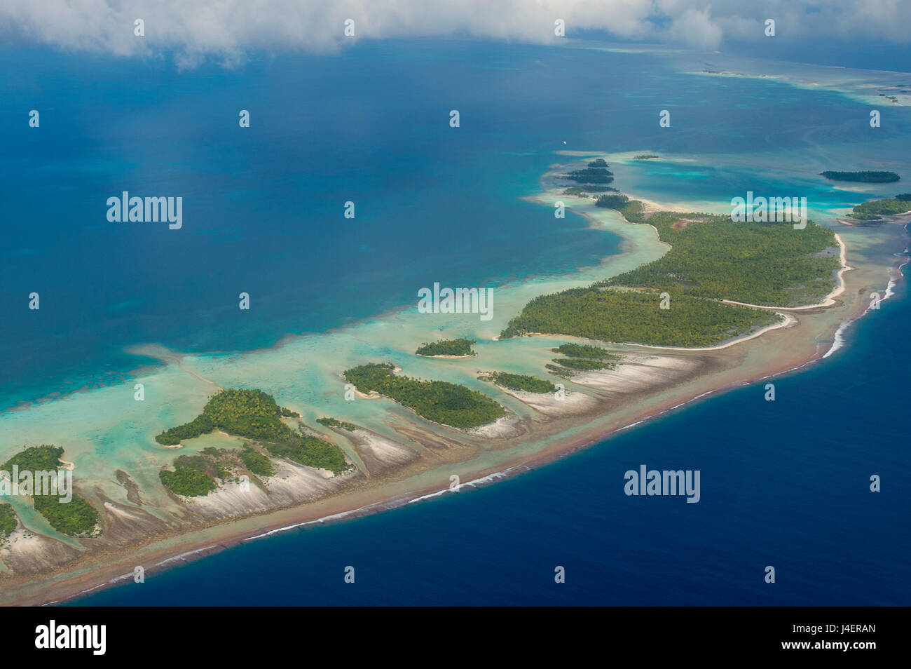 Aerial of the blue lagoon in Rangiroa, Tuamotus, French Polynesia, Pacific - Stock Image
