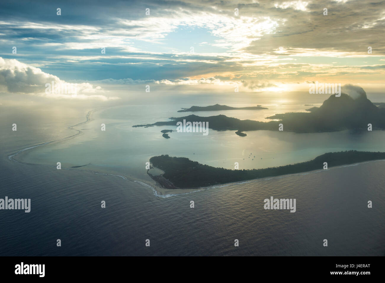 Aerial of Bora Bora, Society Islands, French Polynesia, Pacific - Stock Image