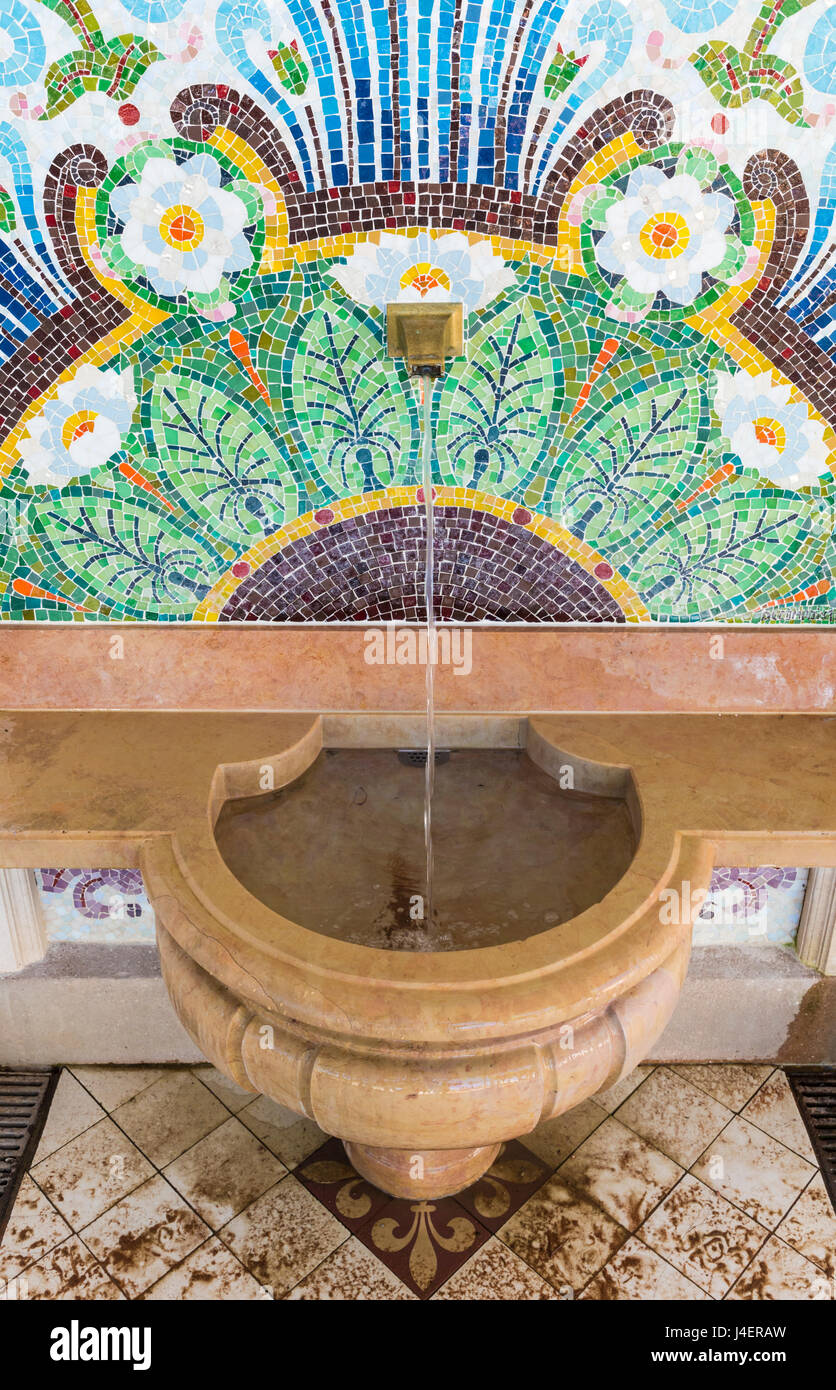 The original source of Évian spring water, the Cachet spring, Évian-les-Bains, France - Stock Image
