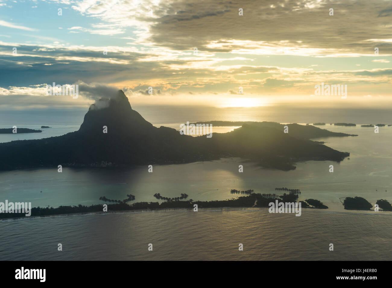 Aerial of Bora Bora, Society Islands, French Polynesia, Pacific - Stock Image