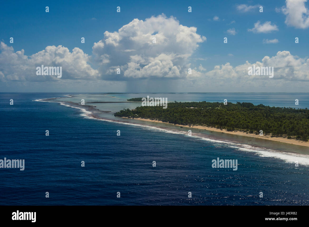 Aerial of Tikehau, Tuamotus, French Polynesia, Pacific - Stock Image