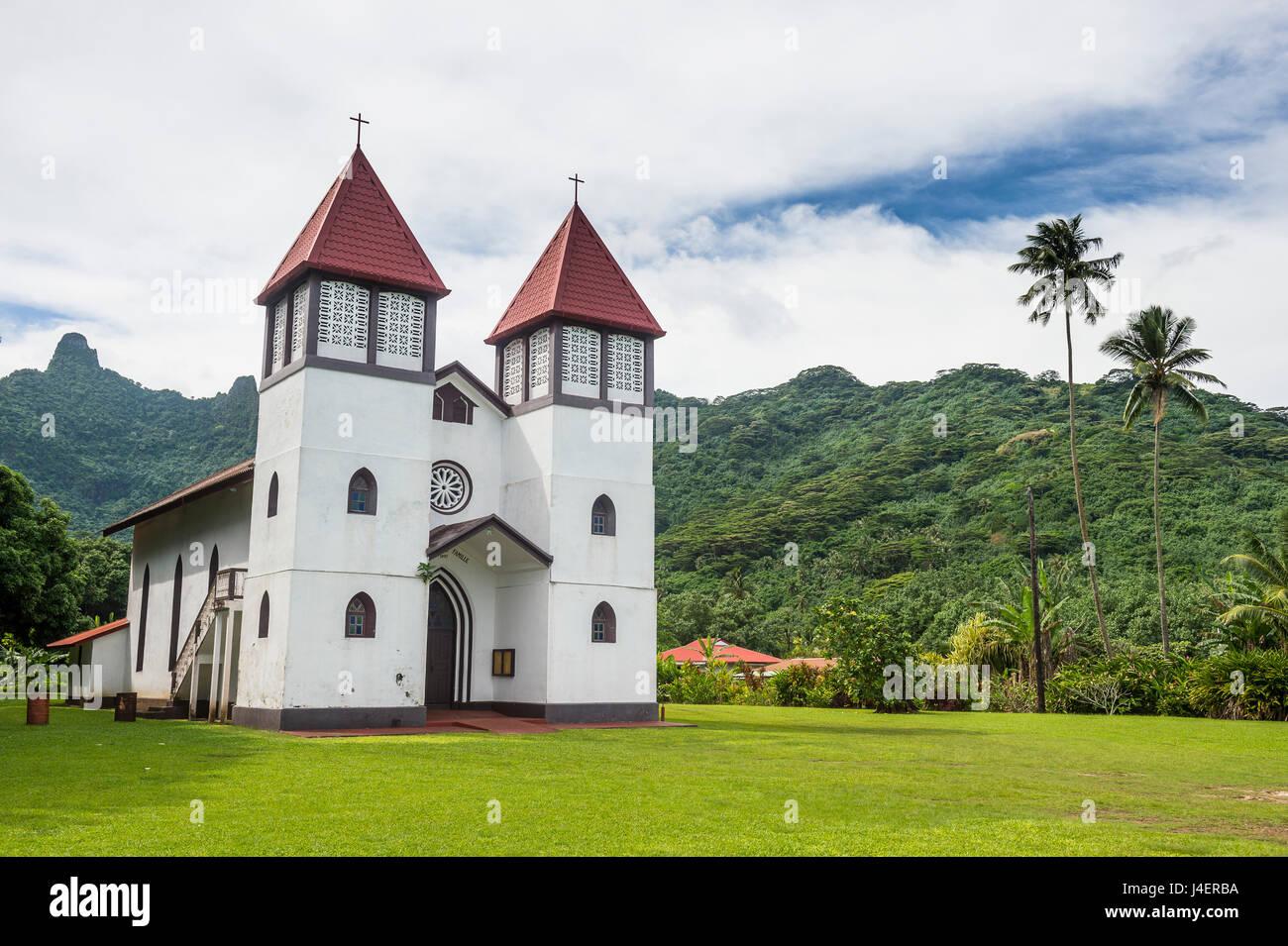 Haapiti Catholic Church, Moorea, Society Islands, French Polynesia, Pacific - Stock Image