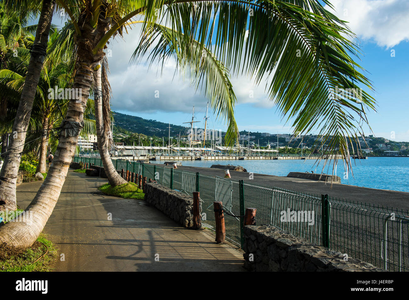 Waterfront of Papeete, Tahiti, Society Islands, French Polynesia, Pacific - Stock Image