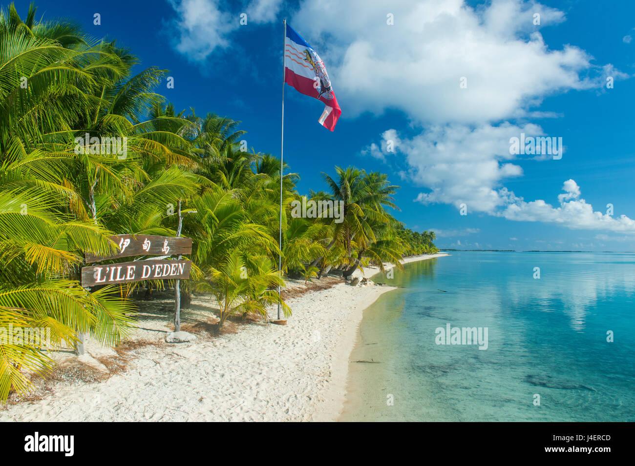 Beautiful palm fringed white sand beach in the turquoise waters of Tikehau, Tuamotus, French Polynesia, Pacific - Stock Image
