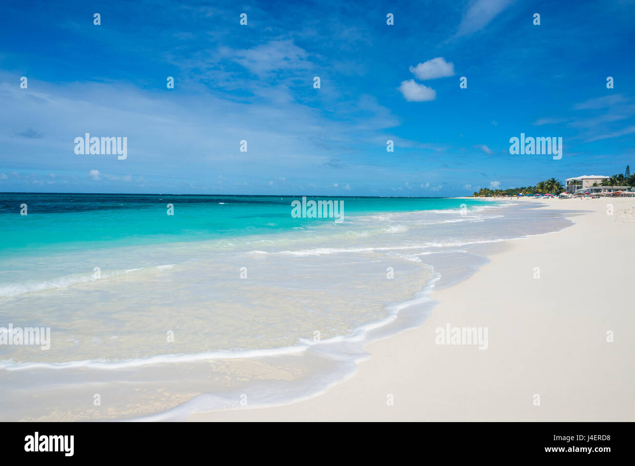 Turquoise waters and whites sand on the world class Shoal Bay East beach, Anguilla, British Oversea territory, Caribbean - Stock Image