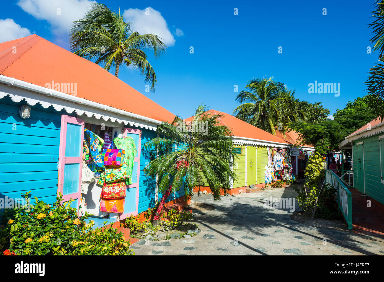 Colourful souvenir shops in Roadtown, Tortola, British Virgin Islands, West Indies, Caribbean, Central America - Stock Image