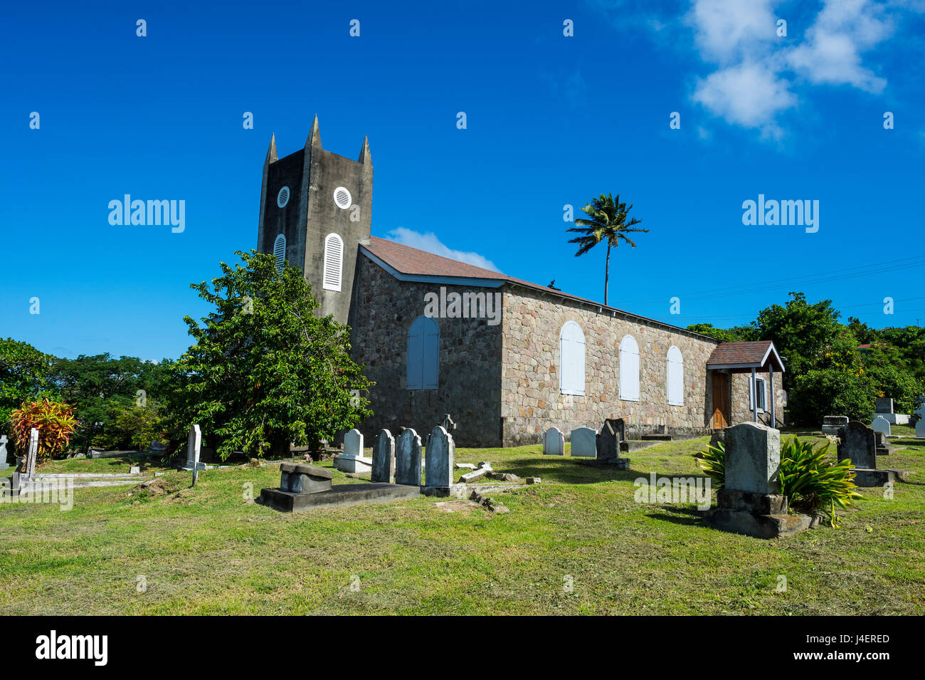 St. Peter's Anglican church, Montserrat, British Overseas Territory, West Indies, Caribbean, Central America - Stock Image