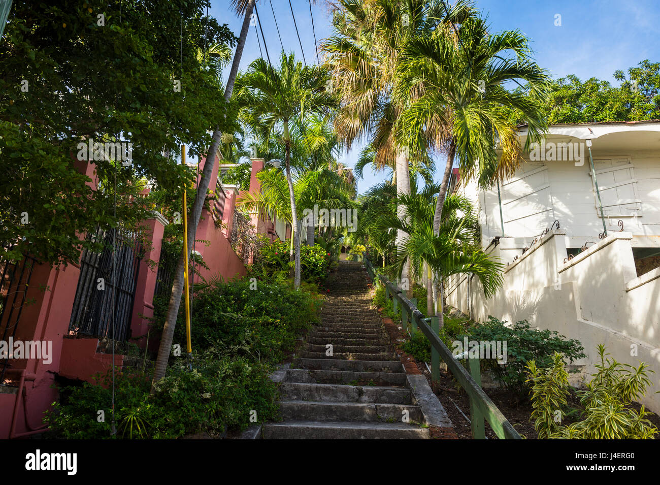 99 steps, little alley in Charlotte Amalie, capital of St. Thomas, US Virgin Islands, West Indies, Caribbean, Central Stock Photo