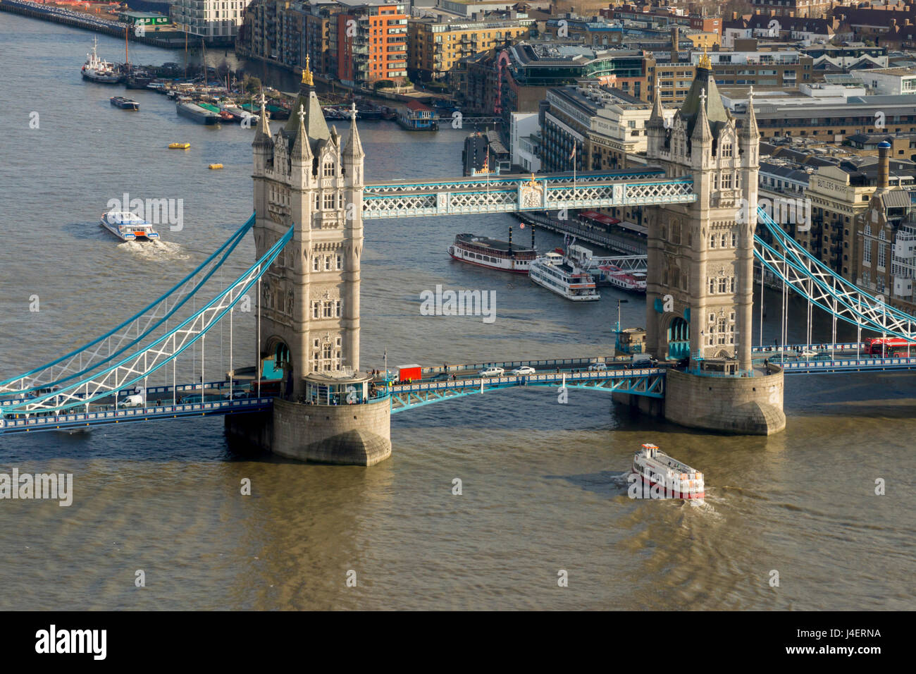 Aerial view of Tower Bridge and River Thames, London, England, United Kingdom, Europe - Stock Image
