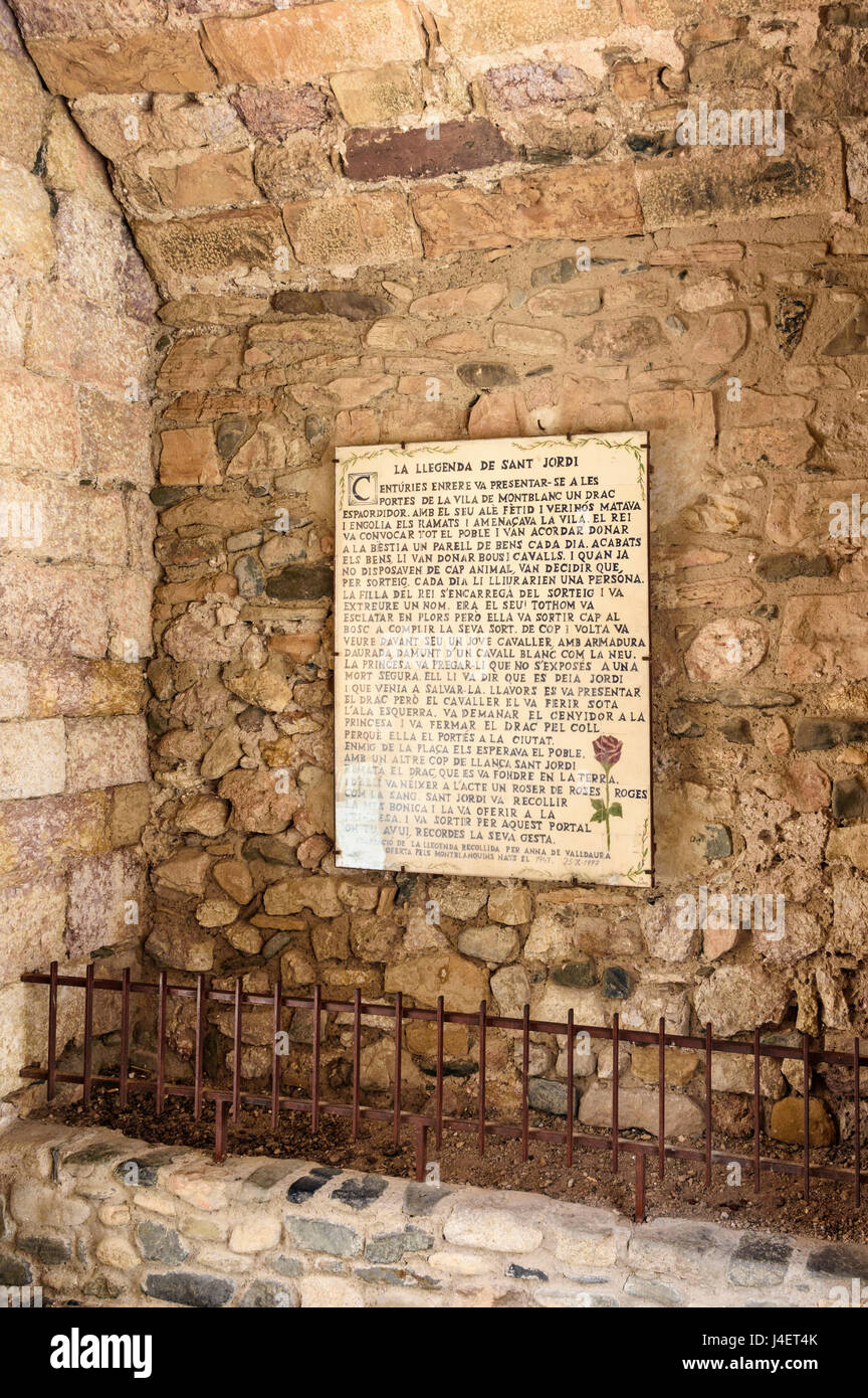 Plaque of the legend of St Jordi under the tower-gate of St George, Montblanc, Tarragona, Catalonia, Spain - Stock Image
