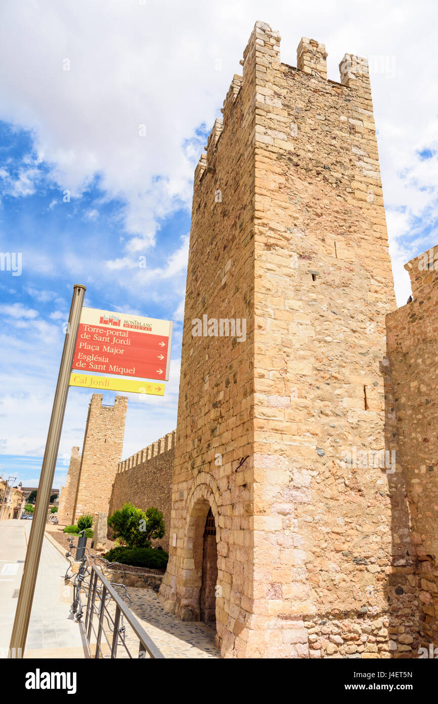 Sant Jordi tower-gate, famed for the legend of where St George killed the dragon, Montblanc, Tarragona, Catalonia, - Stock Image