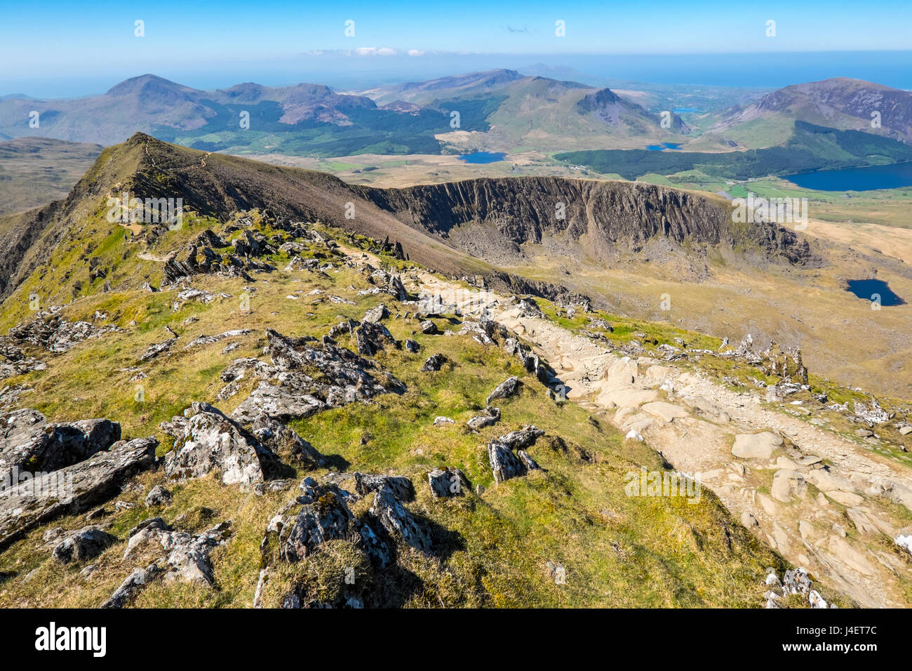 On the Rhyd Ddu path approaching the summit of Snowdon showing Bwlch Main and Llechog with the Nantle hills in the Stock Photo