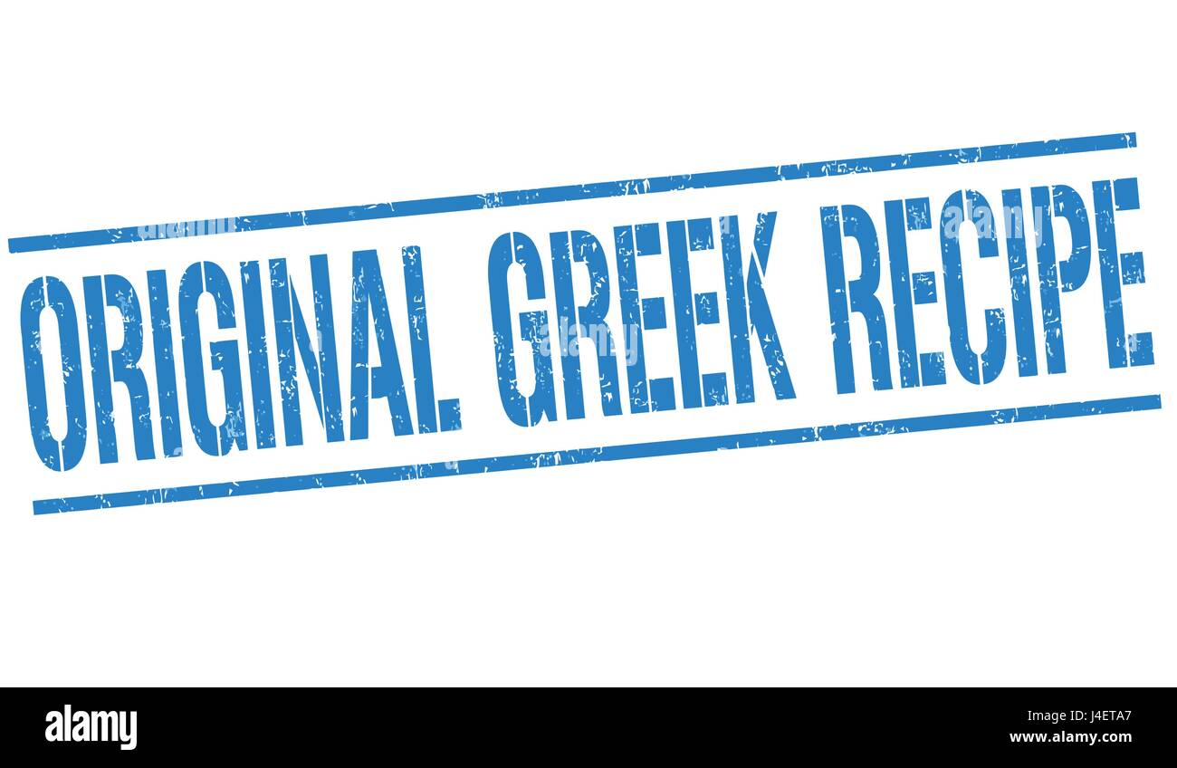 Original greek recipe sign or stamp on white background, vector illustration - Stock Vector