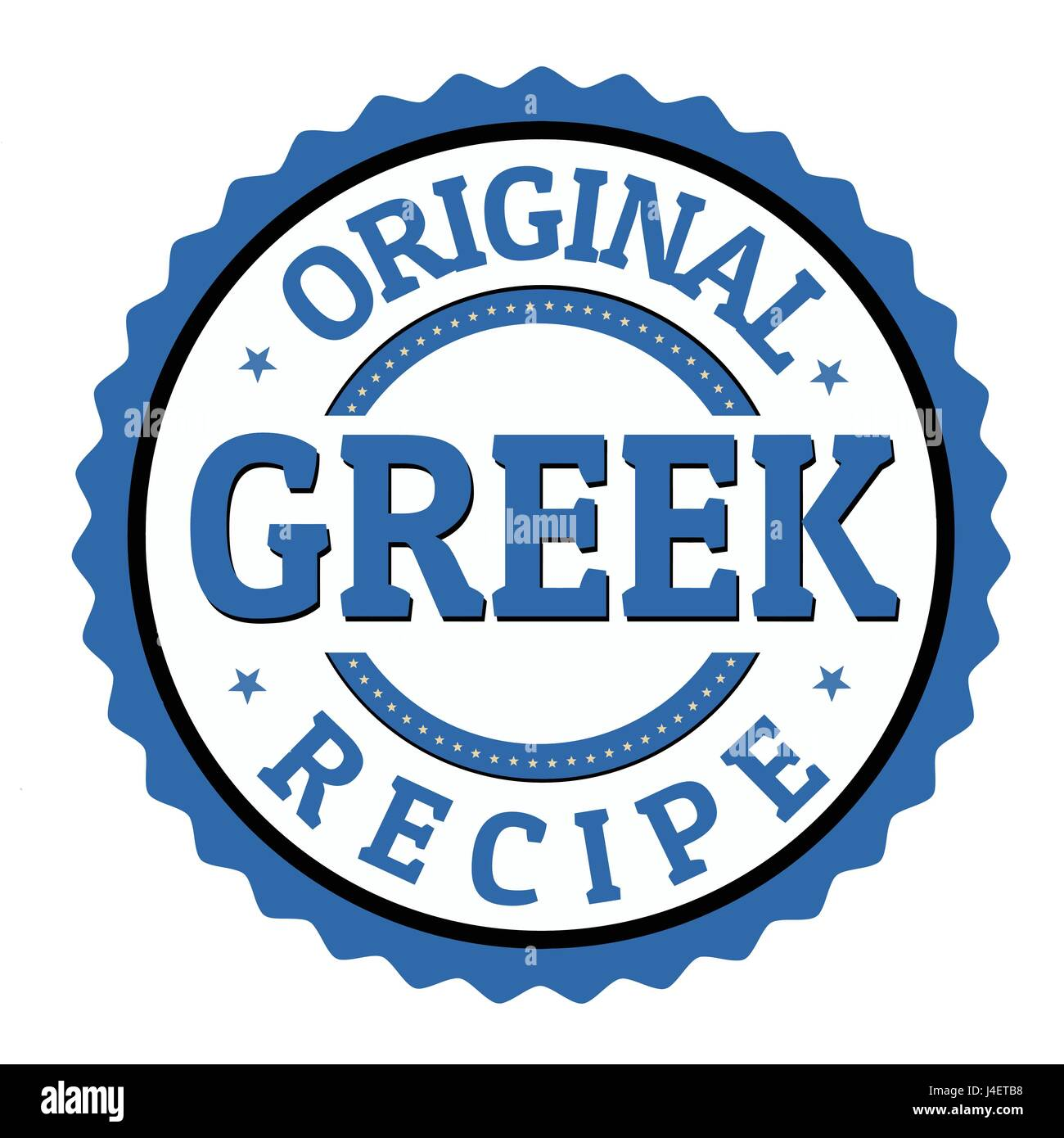 Original greek recipe label or sticker on white background, vector illustration - Stock Vector