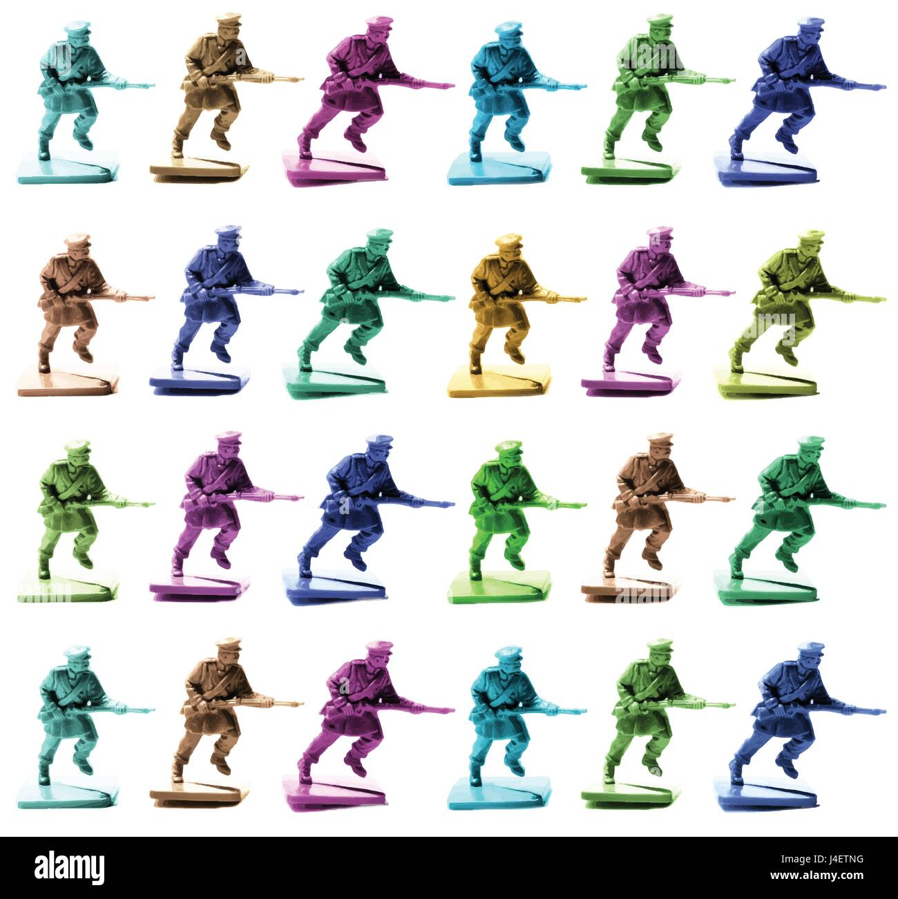 Collection of Pop Art Toy Soldiers War - Stock Image