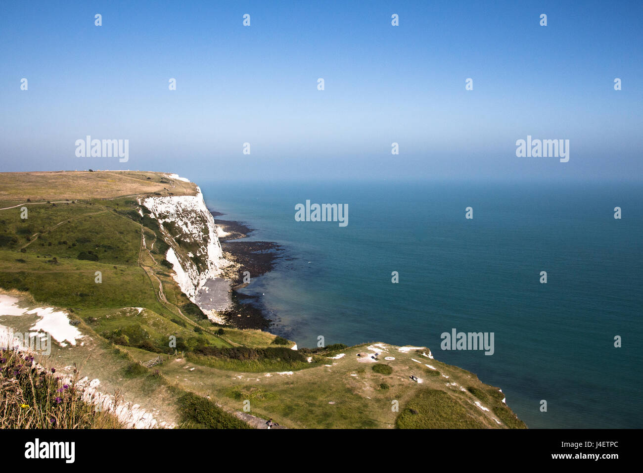 The white cliffs of Dover on a sunny blue sky day. - Stock Image