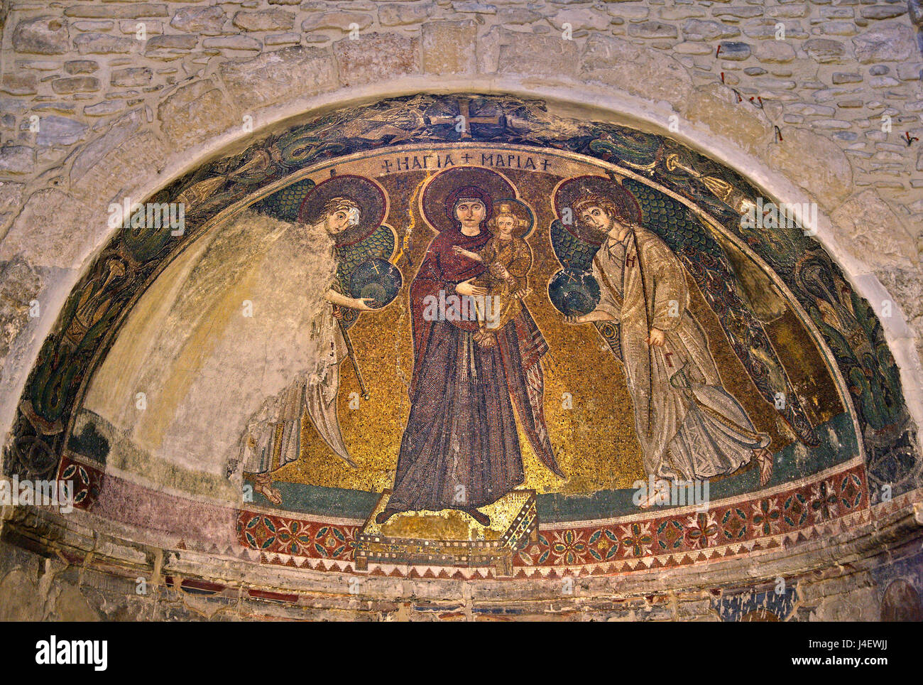 Impressive mosaic of Virgin Mary and archangels Michael and Gabriel in Panagia Angeloktisti Byzantine at  Kiti village, Stock Photo