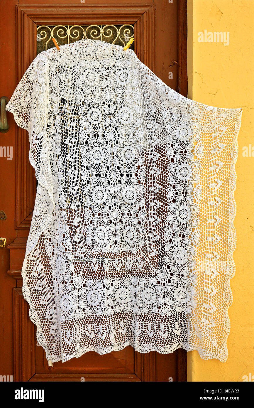 Traditional embroidery at Pano Lefkara, one of the traditional 'Lace and embroidery villages', Larnaca district, - Stock Image
