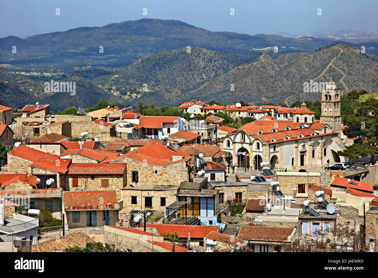 Pano Lefkara, one of the traditional 'Lace and embroidery villages', Larnaca district, Cyprus island. - Stock Image