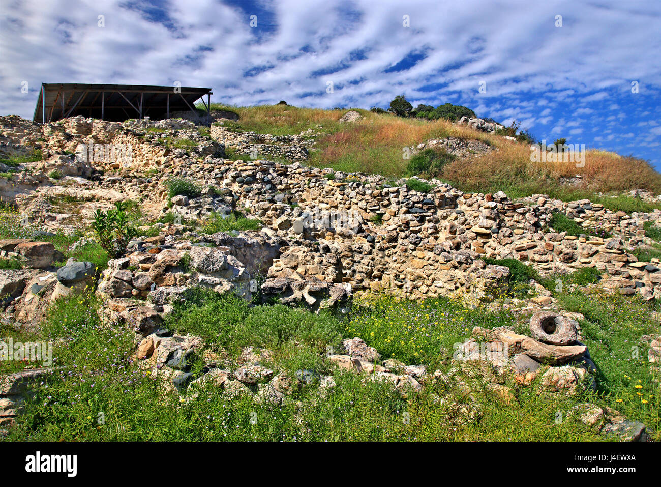 """Ruins in the archaeological site of Choirokoitia (or """"Khirokitia"""" -UNESCO World Heritage Site), a neolithic settlement, Stock Photo"""