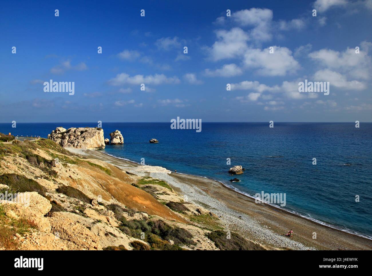 'Petra tou Romiou'  beach ('Greek's Rock', also known as 'Aphrodite's Rock' or 'Aphrodite's - Stock Image