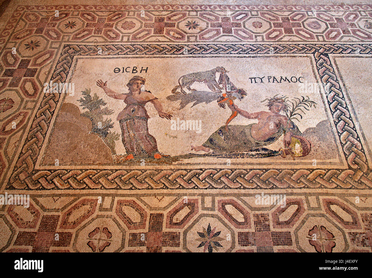 """The """"Pyramos and Thisbe"""" mosaic Inside the """"House of Dionysus""""  in the Archaeoological Park of Paphos (UNESCO World Stock Photo"""