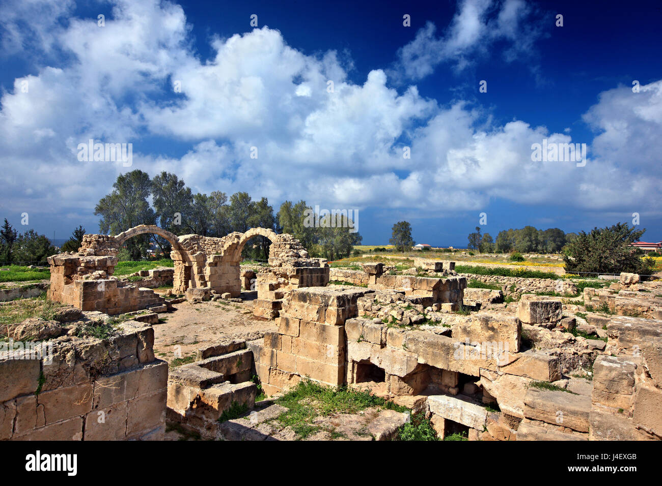 The medieval castle 'Saranta Kolones' ('Forty Columns'), at the Archaeological Site ('Park') - Stock Image