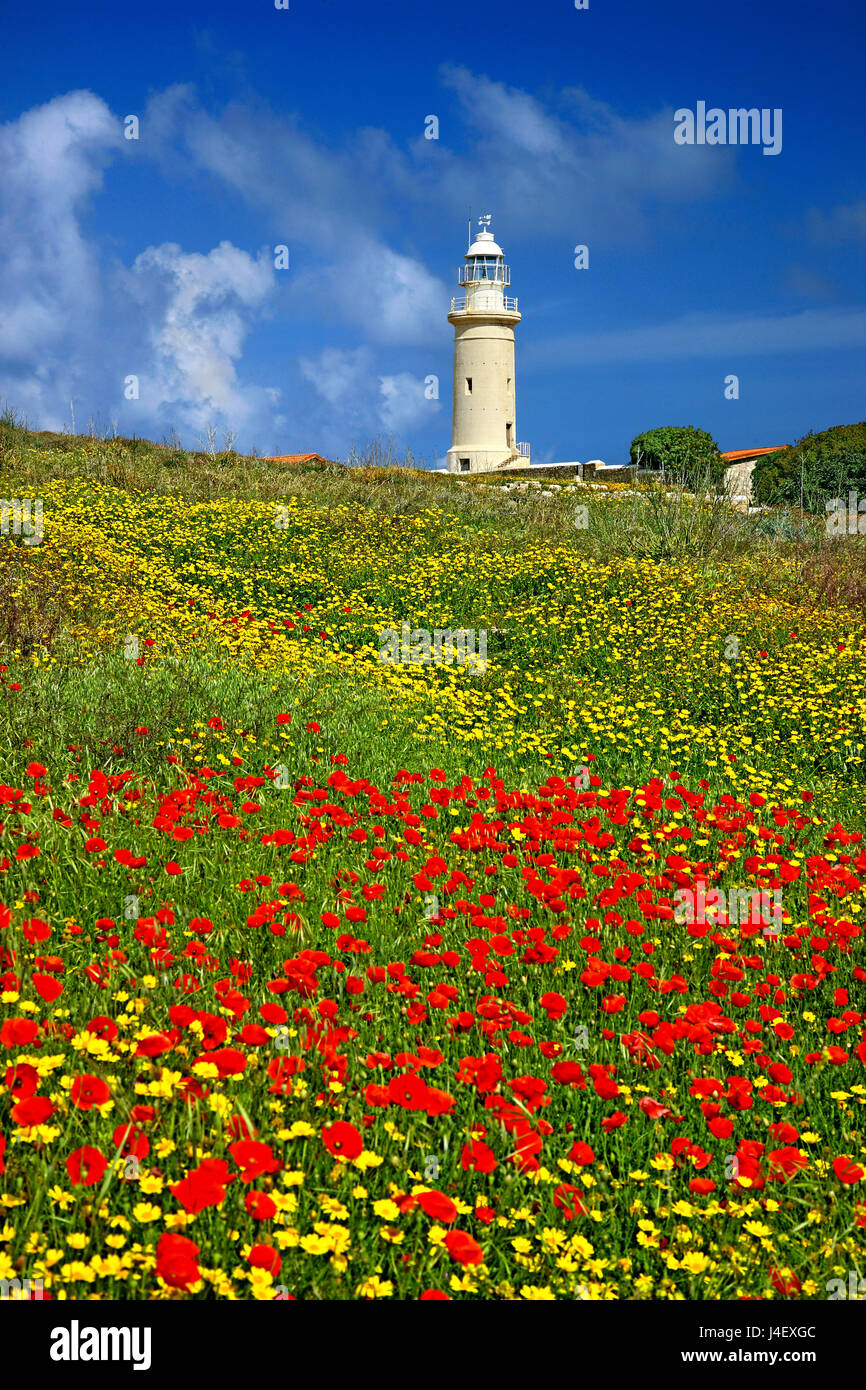 The lighthouse of Paphos, inside the Archaeological Park of Kato Paphos (UNESCO World Heritage Site) Cyprus - Stock Image