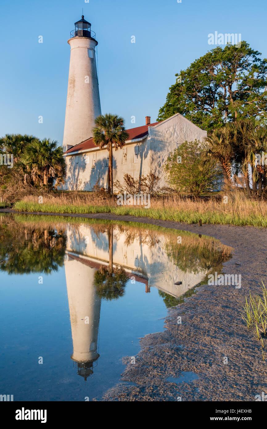 St. Marks Lighthouse in Reflection, St. Marks Wildlife Refuge, Florida - Stock Image