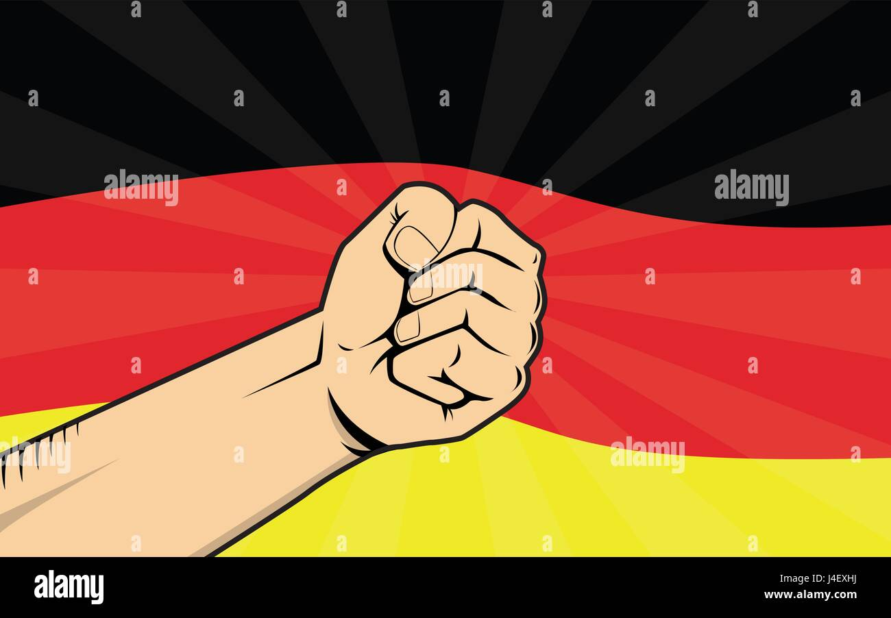 germany fight protest symbol with strong hand and flag as background Stock Vector