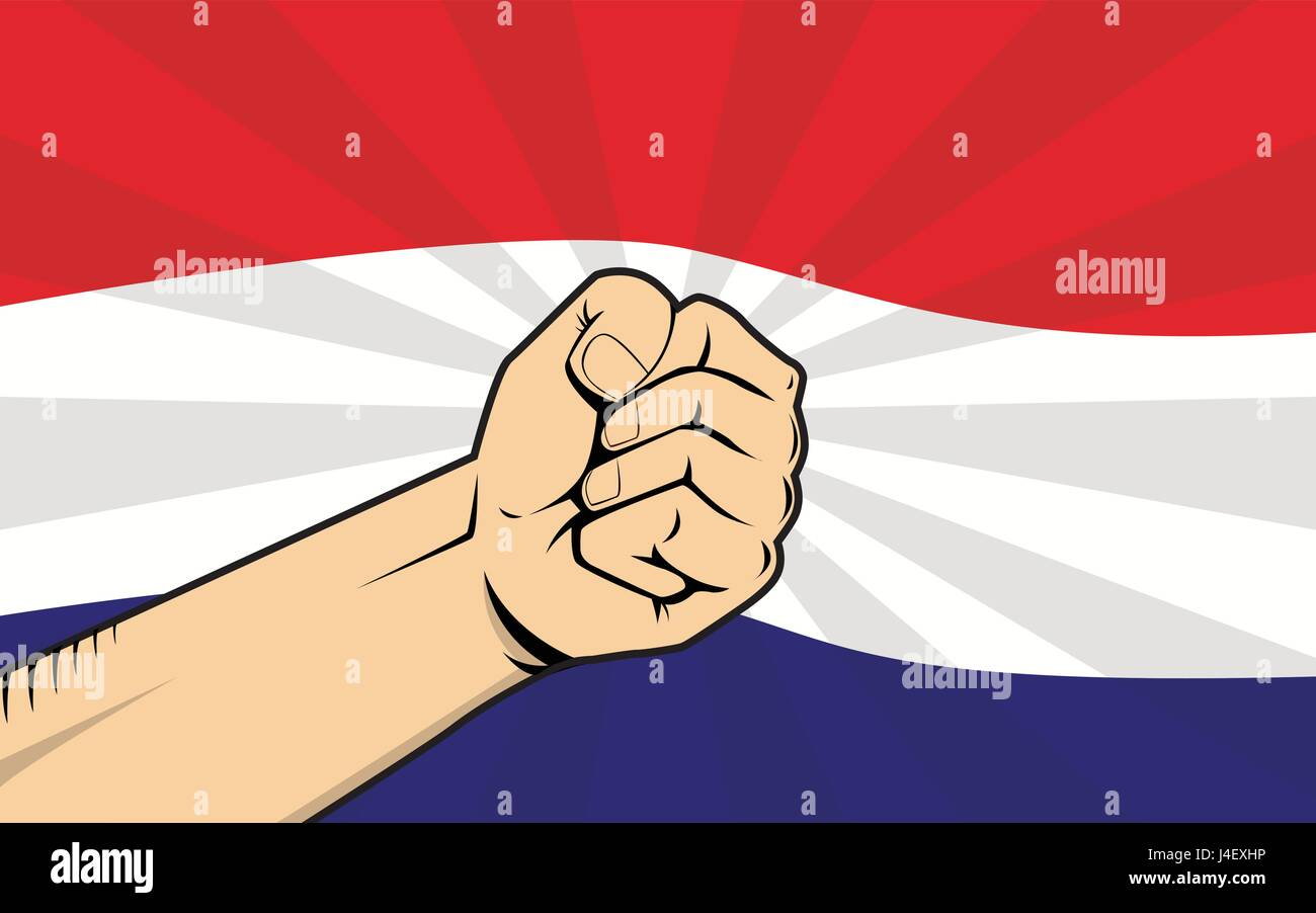 netherlands fight protest symbol with strong hand and flag as background Stock Vector