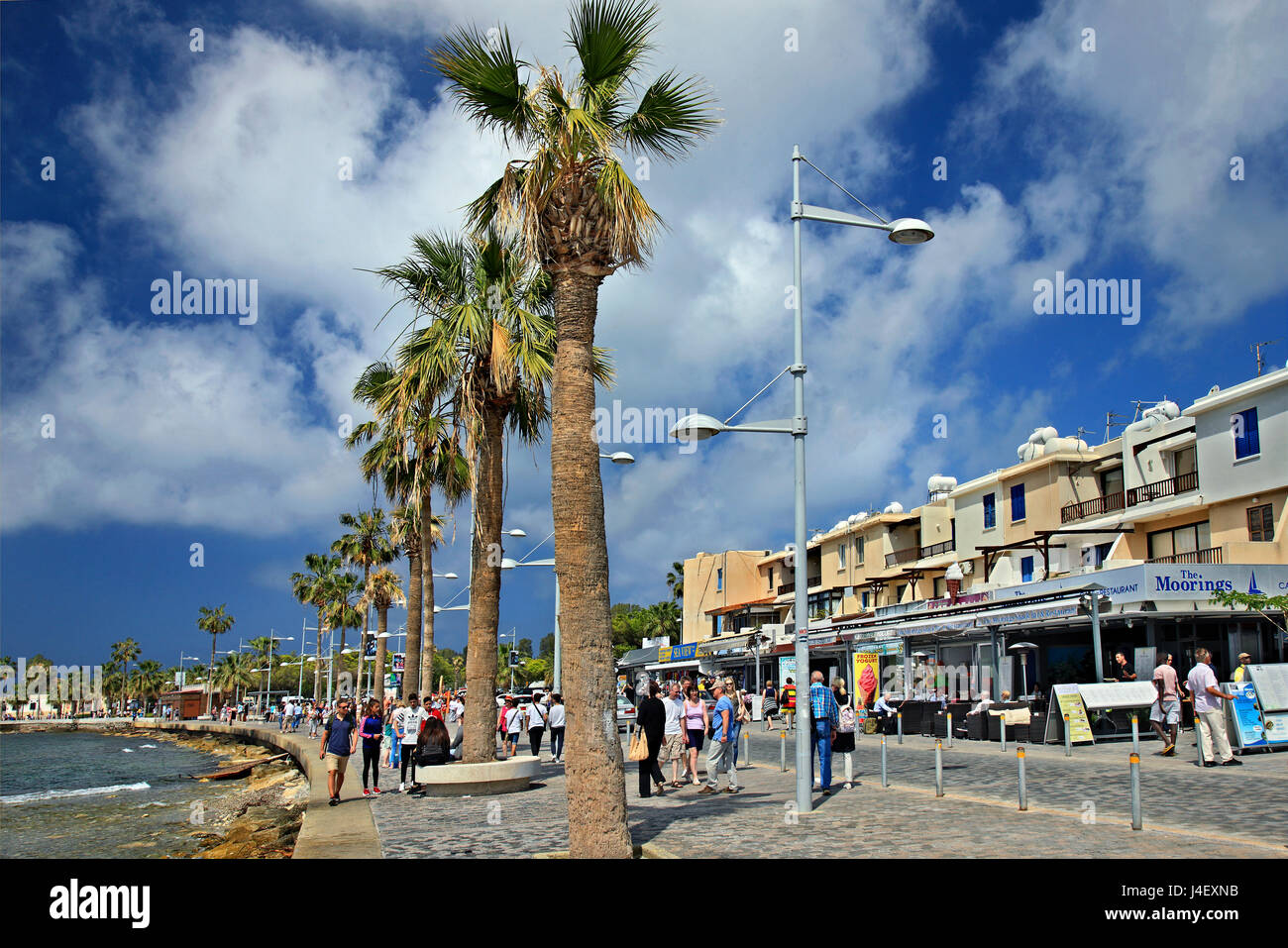 Walking at the promenade of Kato Paphos, Cyprus. - Stock Image