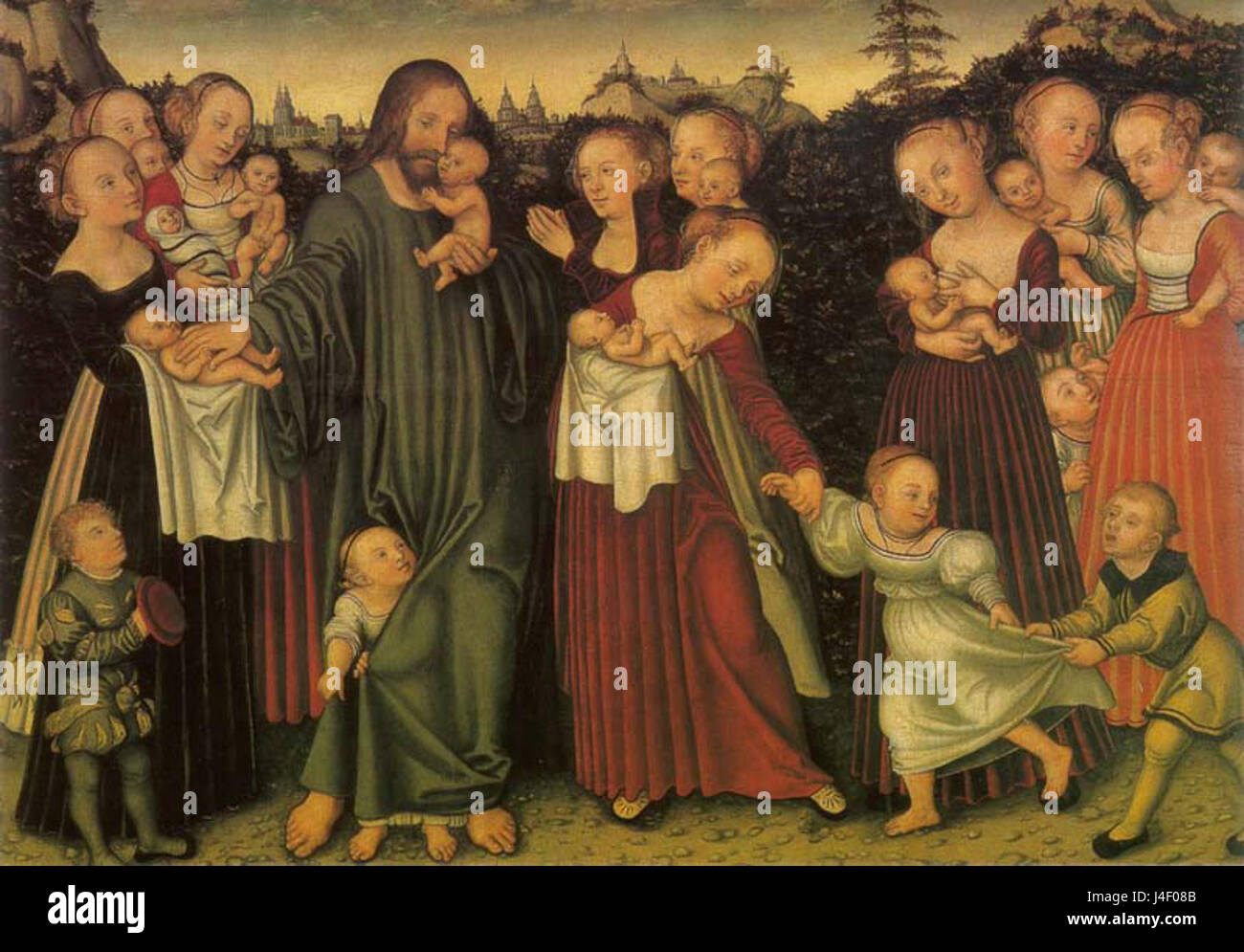 Lucas Cranach the Younger  Christ blessing the Children  Erfurt Angermuseum - Stock Image