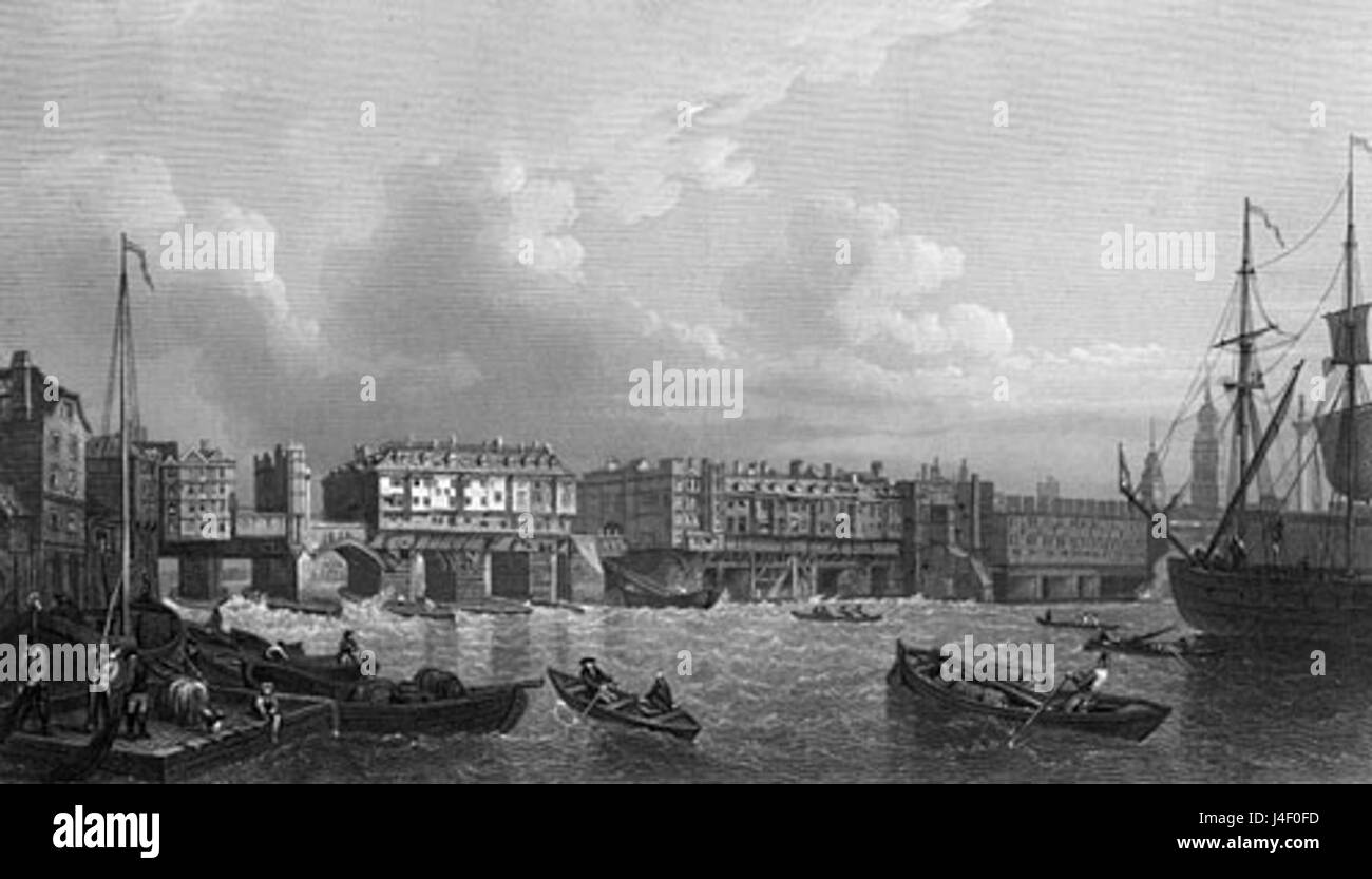 Old London Bridge  River Thames  1745 - Stock Image
