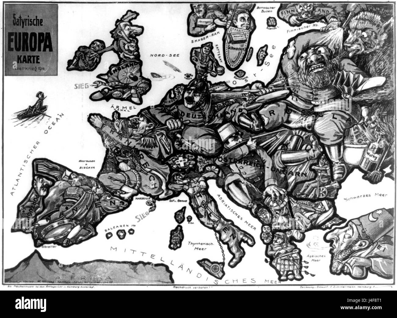 Map Europe 1914 Black and White Stock Photos & Images - Alamy