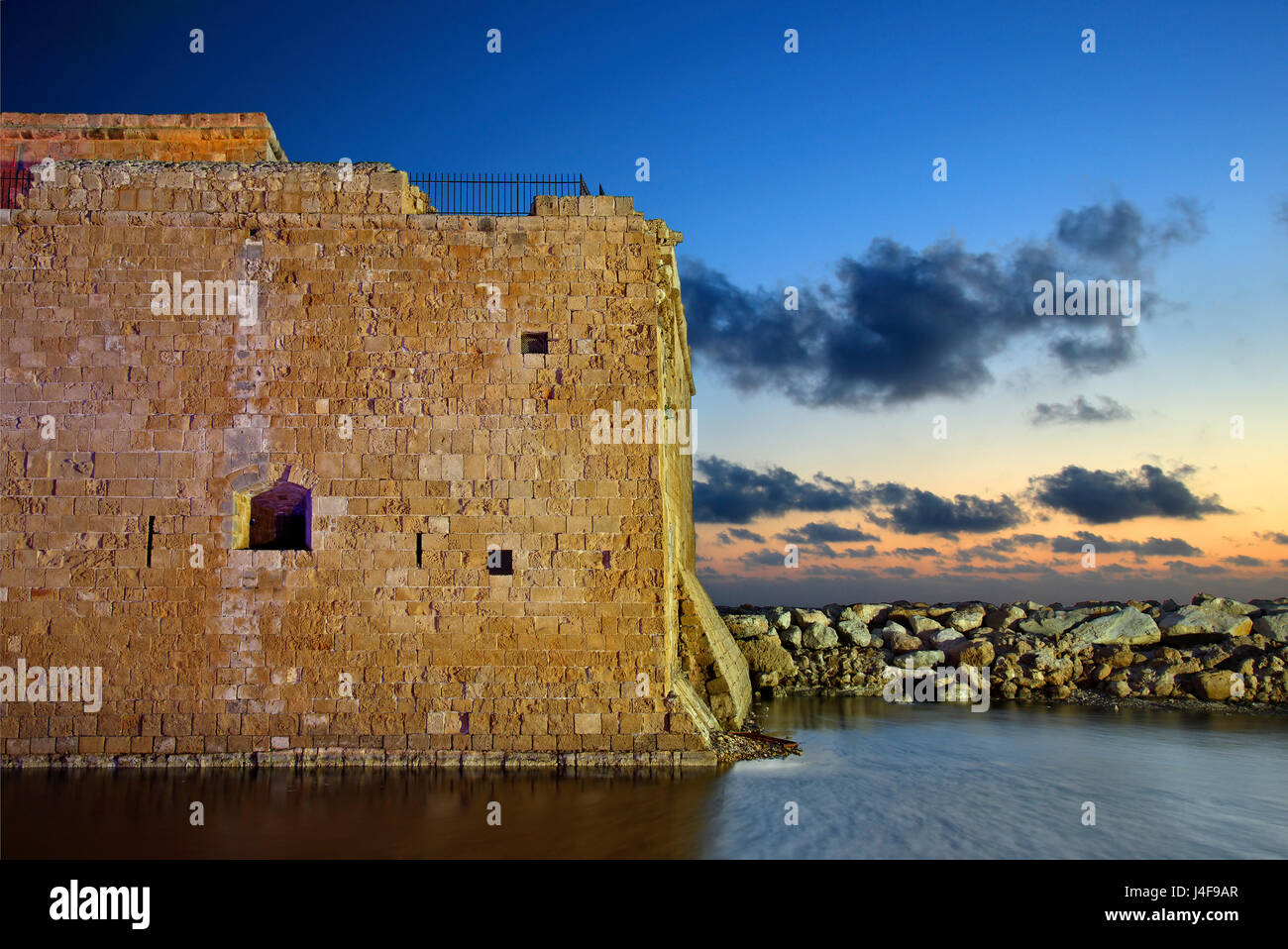 The castle of Paphos in the 'blue' hour, Cyprus.Paphos is on of the 2 European Capitals of Cullture for - Stock Image