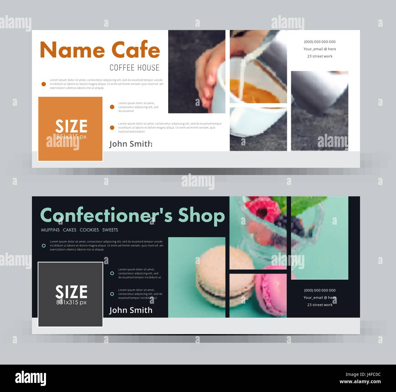 Design a banner with blocks for images for social networks.  template cover  for advertising a coffee house, a pastry - Stock Vector