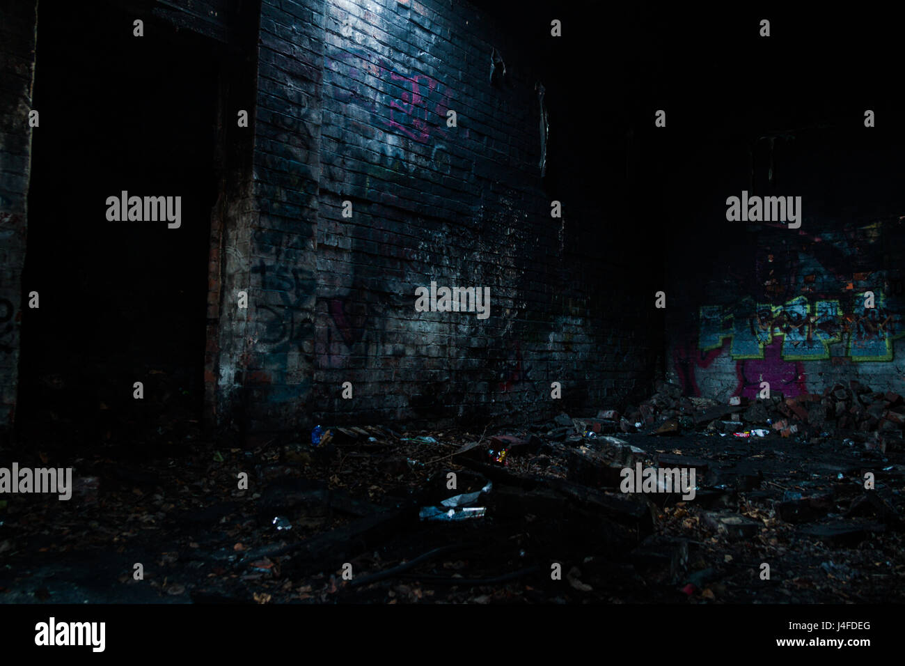 Long exposure of a skylight in an abandoned building - Stock Image