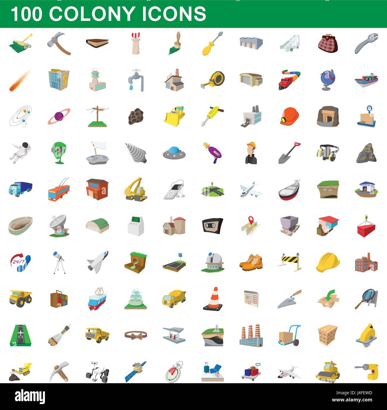 100 colony icons set, cartoon style - Stock Vector