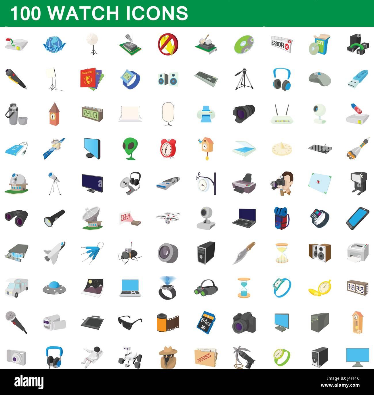 100 watch icons set, cartoon style Stock Vector