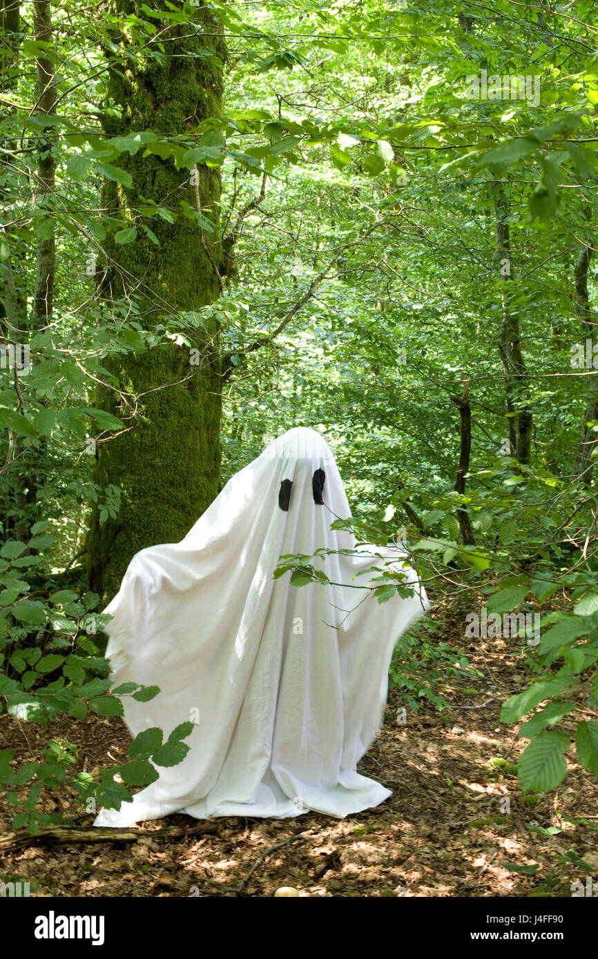 white ghost in forest Stock Photo