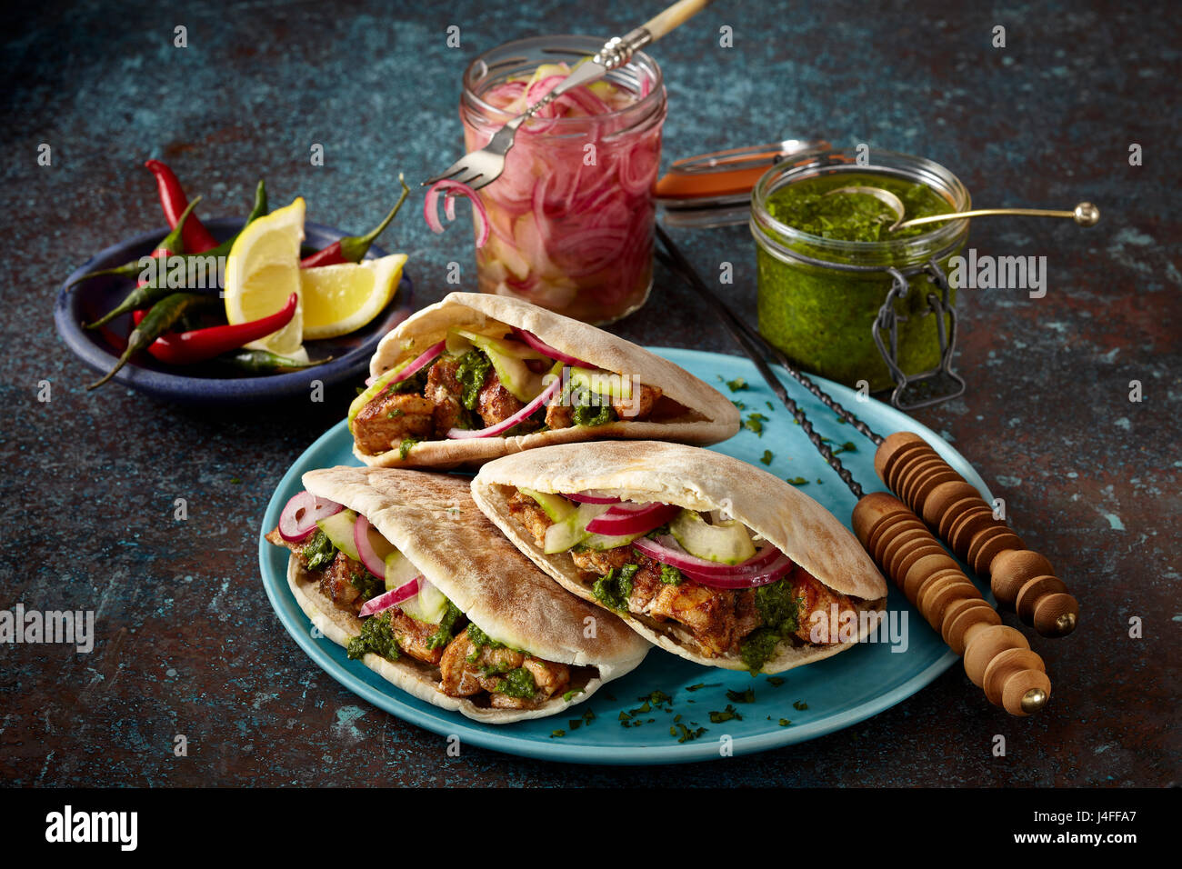 Middle Eastern chicken wrap - Stock Image
