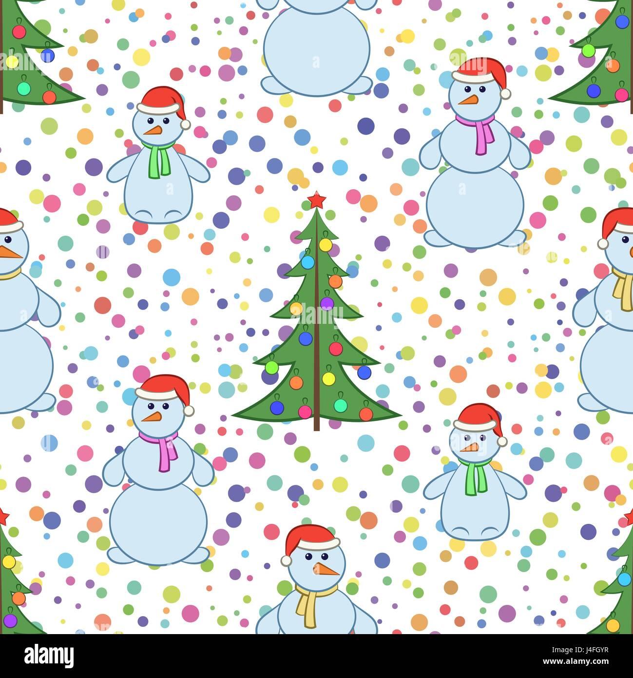 Mother Christmas Cartoon.Christmas Holiday Seamless Background With Cartoon Snowmen