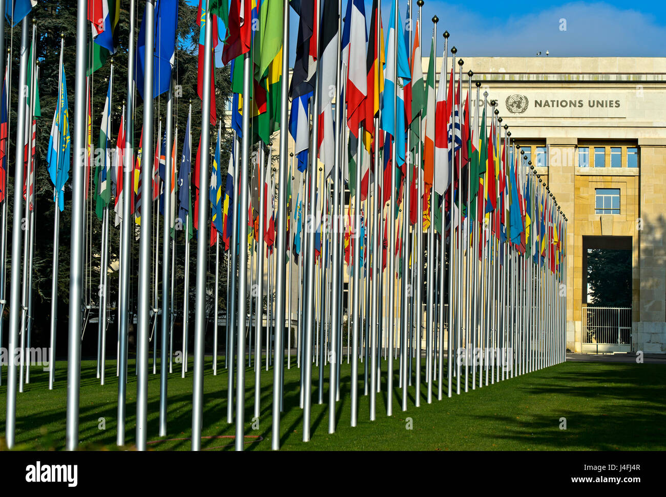 Court of flags at the United Nations Office at Geneva, UNO, Palais des Nations, Geneva, Switzerland - Stock Image