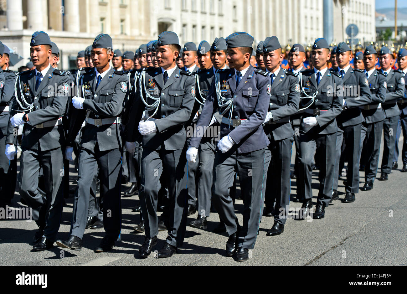 Military unit of the Mongolian armed forces at a parade, Ulaanbaatar, Mongolia - Stock Image