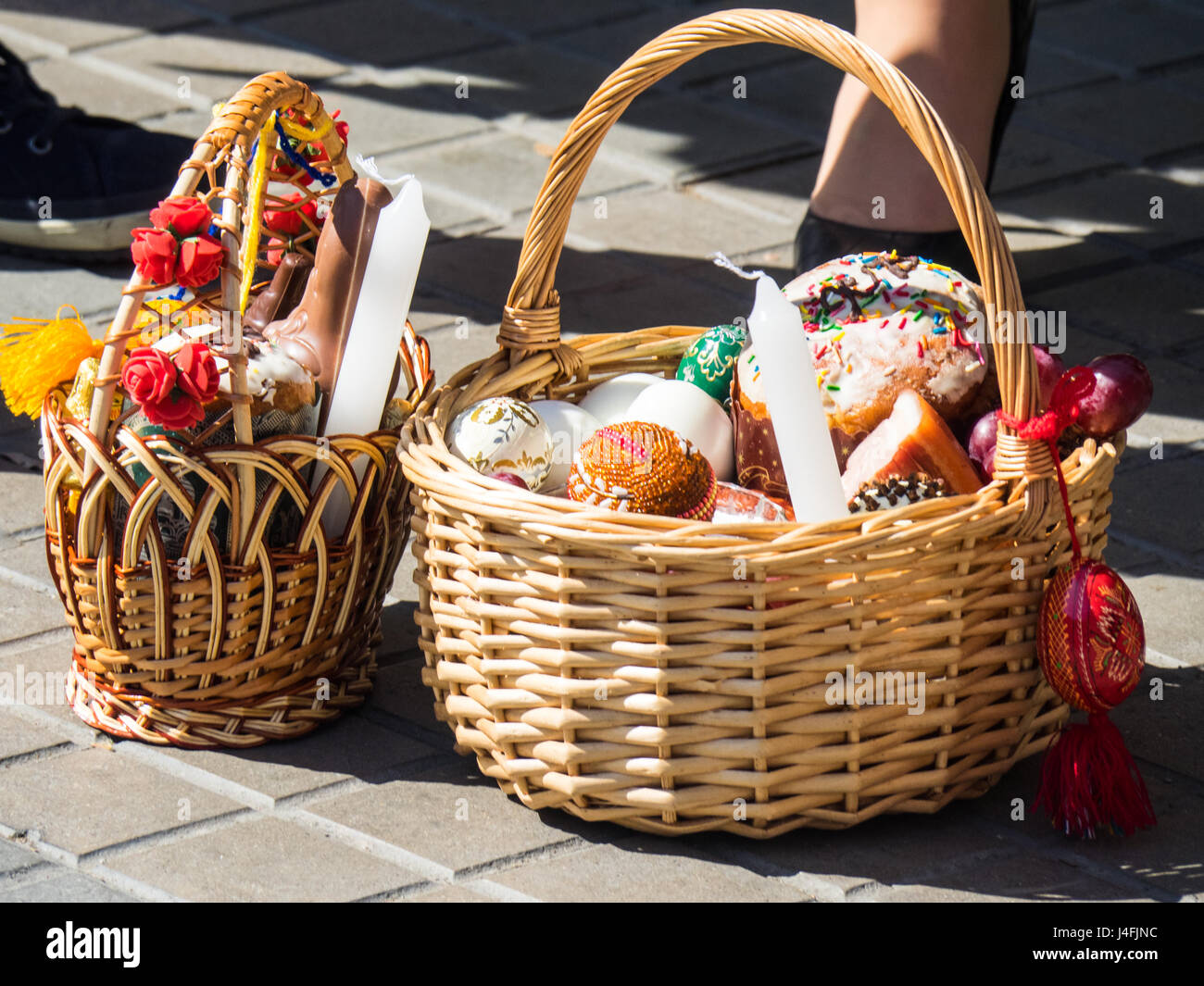 Cane baskets filled with easter offerings of eggs and cakes to stock cane baskets filled with easter offerings of eggs and cakes to celebrate the russian orthodox easter negle Images