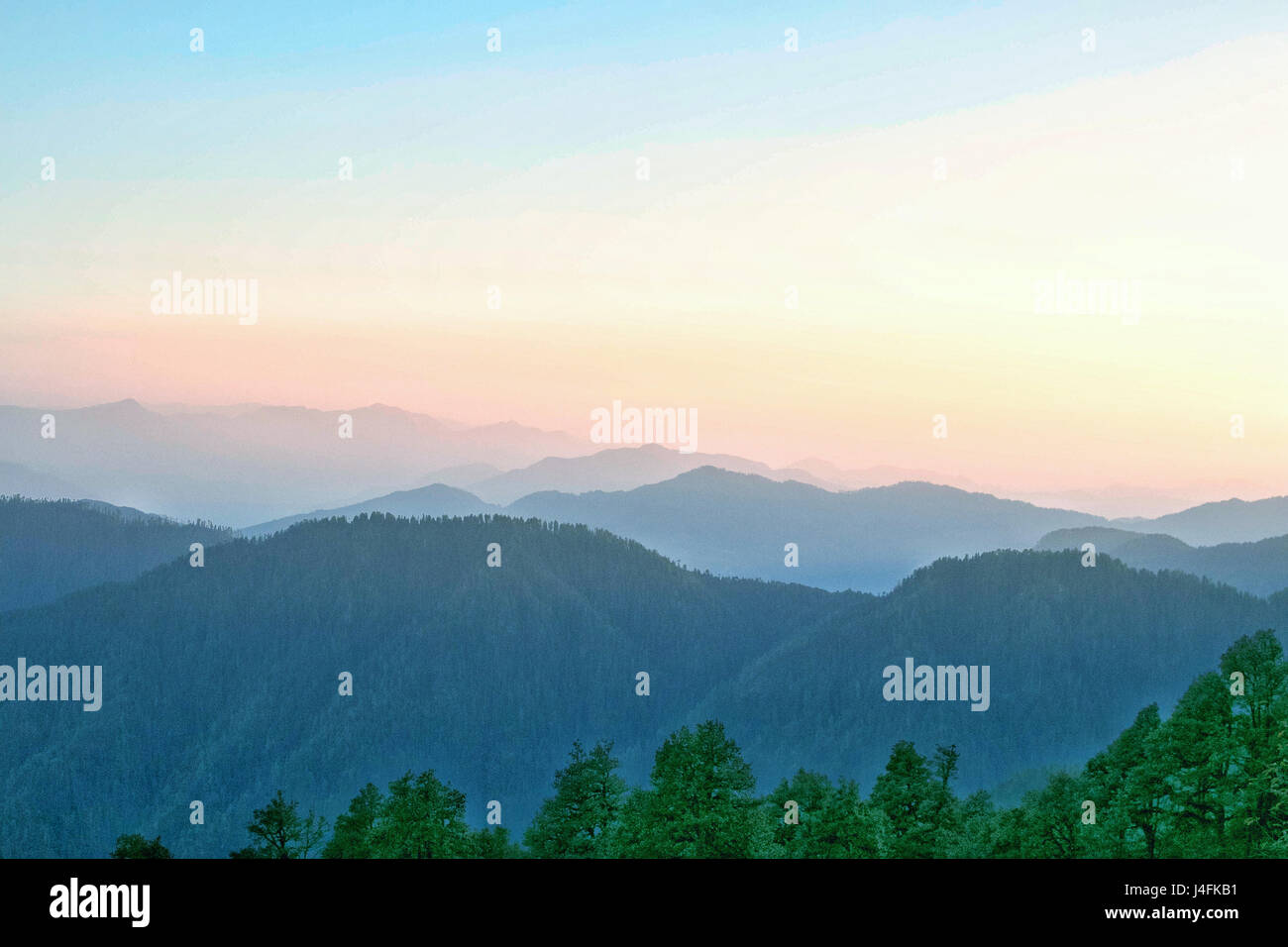 Mountain layers of Himachal Pradesh, India, Asia. - Stock Image